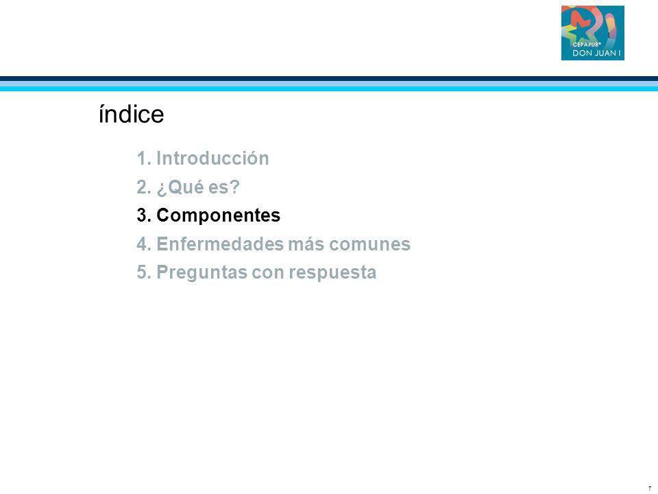 7 índice 1. Introducción 2. ¿Qué es? 3. Componentes 4. Enfermedades más comunes 5. Preguntas con respuesta