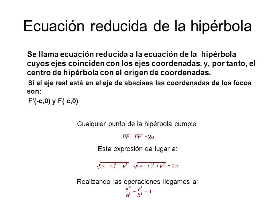 Ecuación reducida de la hipérbola Se llama ecuación reducida a la ecuación de la hipérbola cuyos ejes coinciden con los ejes coordenadas, y, por tanto