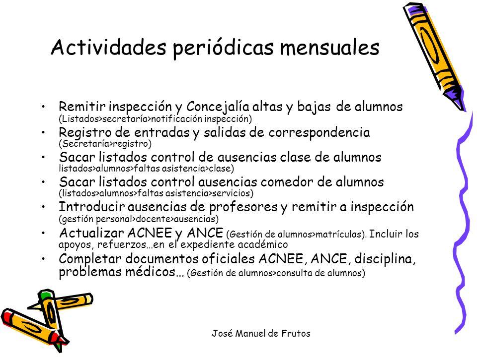 José Manuel de Frutos Actividades periódicas mensuales Remitir inspección y Concejalía altas y bajas de alumnos (Listados>secretaría>notificación insp