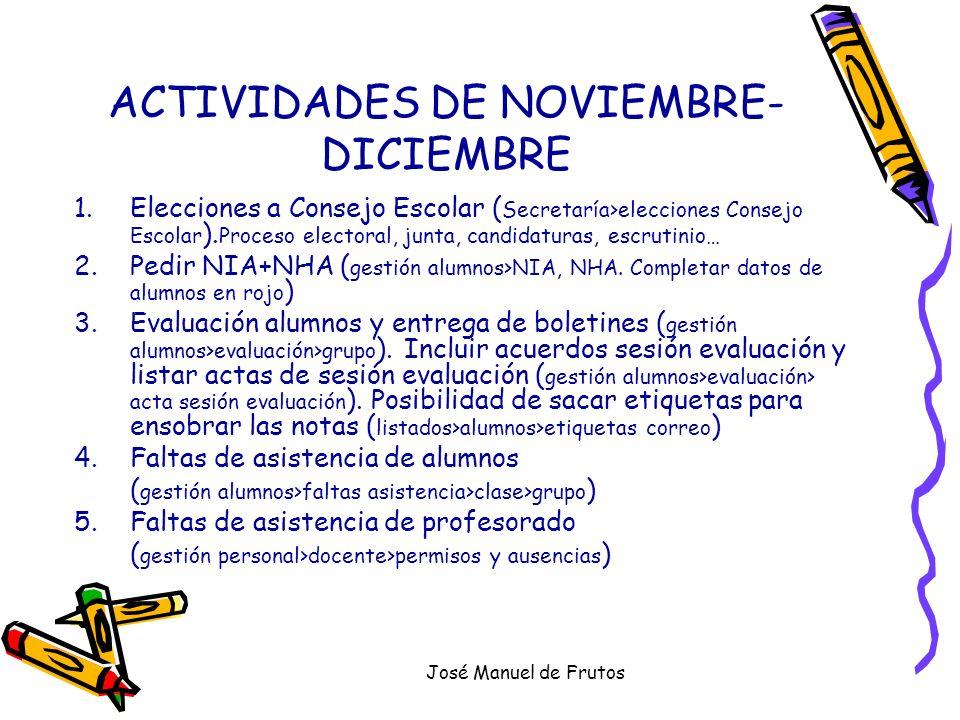 José Manuel de Frutos ACTIVIDADES DE NOVIEMBRE- DICIEMBRE 1.Elecciones a Consejo Escolar ( Secretaría>elecciones Consejo Escolar ). Proceso electoral,