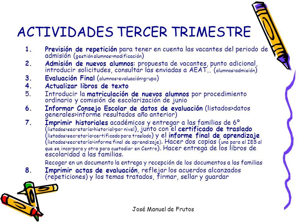 José Manuel de Frutos ACTIVIDADES TERCER TRIMESTRE 1.Previsión de repetición para tener en cuenta las vacantes del periodo de admisión ( gestión alumn