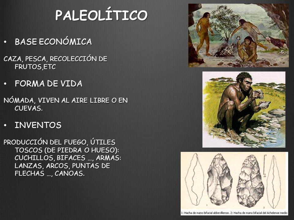 PALEOLÍTICO BASE ECONÓMICA BASE ECONÓMICA CAZA, PESCA, RECOLECCIÓN DE FRUTOS,ETC FORMA DE VIDA FORMA DE VIDA NÓMADA, VIVEN AL AIRE LIBRE O EN CUEVAS.