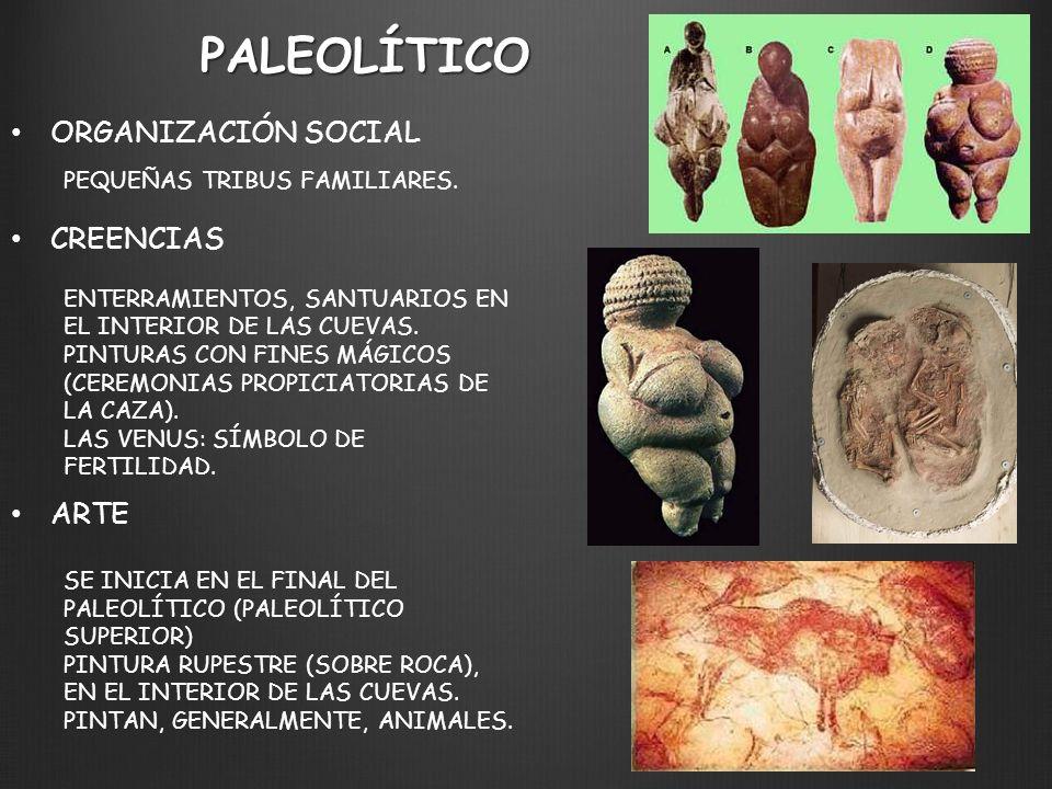 PALEOLÍTICO ORGANIZACIÓN SOCIAL PEQUEÑAS TRIBUS FAMILIARES. CREENCIAS ENTERRAMIENTOS, SANTUARIOS EN EL INTERIOR DE LAS CUEVAS. PINTURAS CON FINES MÁGI