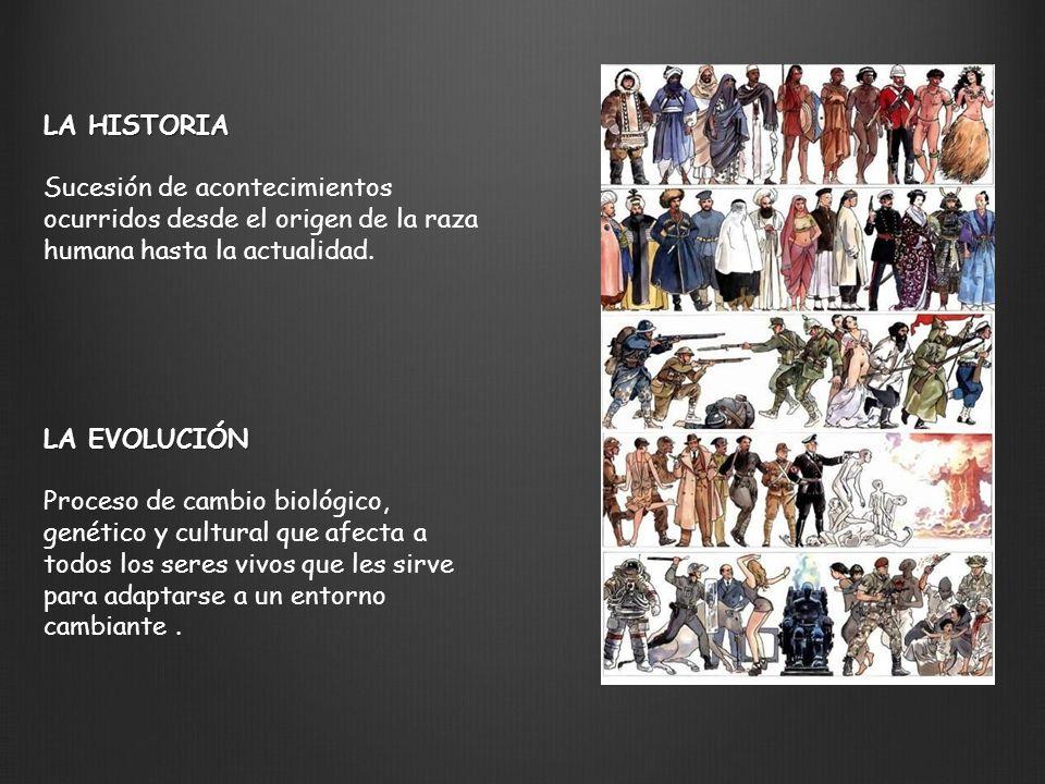 LA HISTORIA Sucesión de acontecimientos ocurridos desde el origen de la raza humana hasta la actualidad. LA EVOLUCIÓN Proceso de cambio biológico, gen