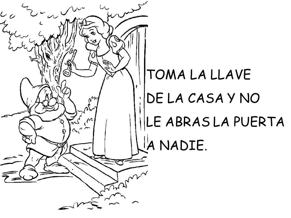 LA MADRASTRA, DISFRAZADA DE ABUELITA, LE DIO UNA MANZANA ENVENENADA.