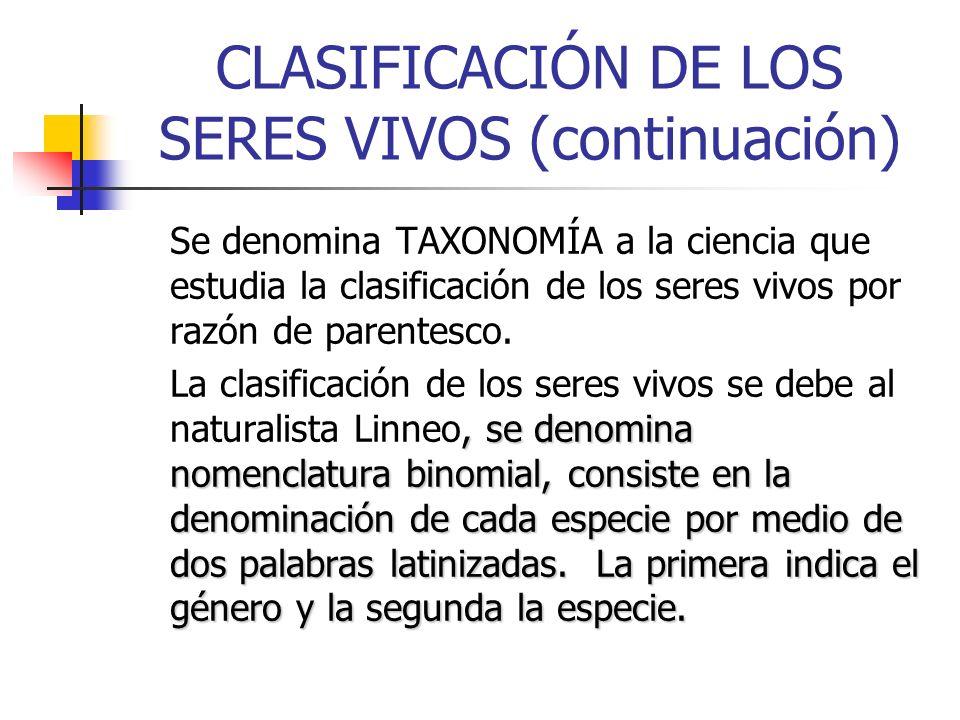 CLASIFICACIÓN DE LOS SERES VIVOS (continuación) Se denomina TAXONOMÍA a la ciencia que estudia la clasificación de los seres vivos por razón de parent