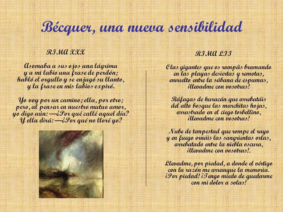 Bécquer, una nueva sensibilidad RIMA XXX Asomaba a sus ojos una lágrima y a mi labio una frase de perdón; habló el orgullo y se enjugó su llanto, y la