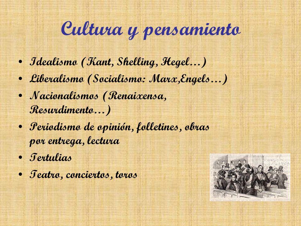 Cultura y pensamiento Idealismo (Kant, Shelling, Hegel…) Liberalismo (Socialismo: Marx,Engels…) Nacionalismos (Renaixensa, Resurdimento…) Periodismo d
