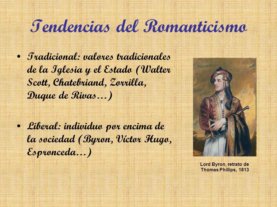 Tendencias del Romanticismo Tradicional: valores tradicionales de la Iglesia y el Estado (Walter Scott, Chatebriand, Zorrilla, Duque de Rivas…) Libera