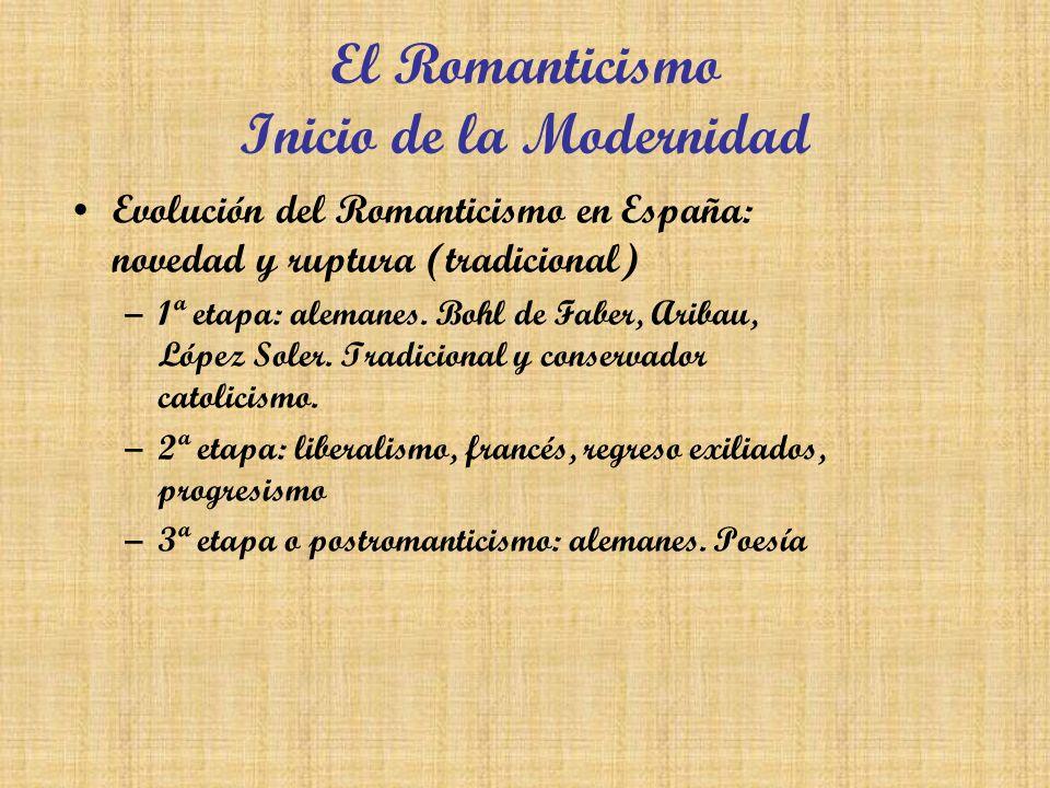 El Romanticismo Inicio de la Modernidad Evolución del Romanticismo en España: novedad y ruptura (tradicional) –1ª etapa: alemanes. Bohl de Faber, Arib