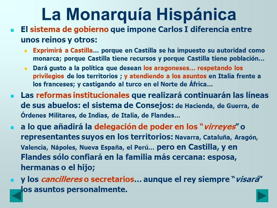 La Monarquía Hispánica El sistema de gobierno que impone Carlos I diferencia entre unos reinos y otros: Exprimirá a Castilla… porque en Castilla se ha