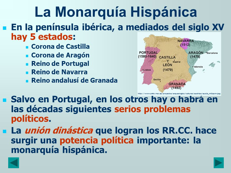 En la península ibérica, a mediados del siglo XV hay 5 estados: Corona de Castilla Corona de Aragón Reino de Portugal Reino de Navarra Reino andalusí
