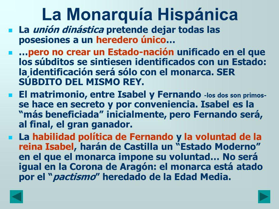 La Monarquía Hispánica La unión dinástica pretende dejar todas las posesiones a un heredero único… …pero no crear un Estado-nación unificado en el que