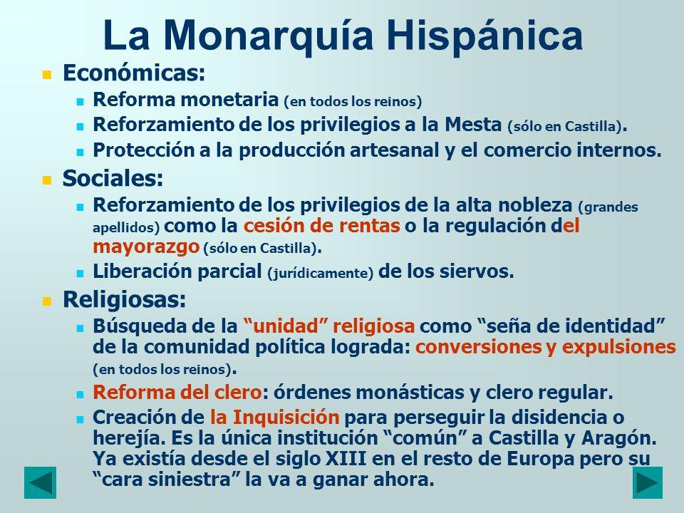 La Monarquía Hispánica Y, en medio de todo lo anterior: la guerra de Granada, y la guerra con Francia en Italia; la política de enlaces matrimoniales para ganar Portugal y cercar a Francia.