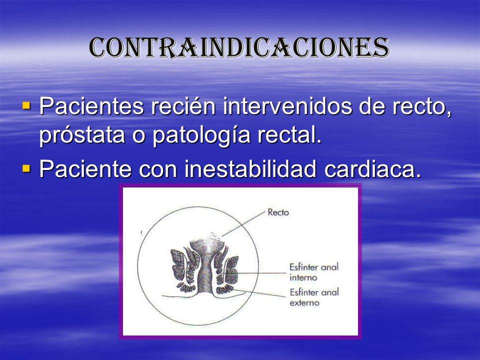 CONTRAINDICACIONES Pacientes recién intervenidos de recto, próstata o patología rectal. Pacientes recién intervenidos de recto, próstata o patología r