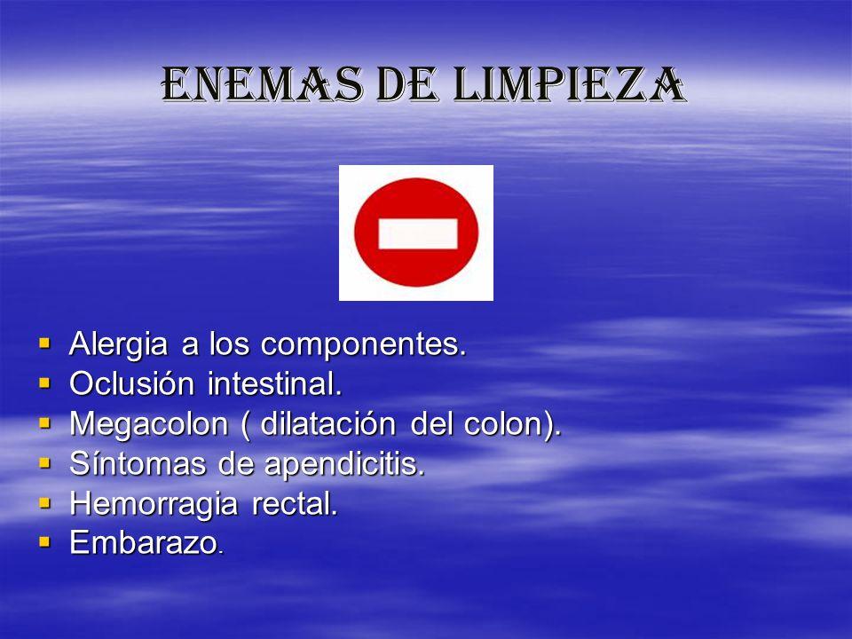 ENEMAS DE LIMPIEZA Alergia a los componentes. Alergia a los componentes. Oclusión intestinal. Oclusión intestinal. Megacolon ( dilatación del colon).