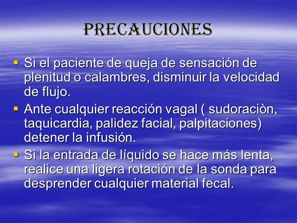 PRECAUCIONES Si el paciente de queja de sensación de plenitud o calambres, disminuir la velocidad de flujo. Si el paciente de queja de sensación de pl