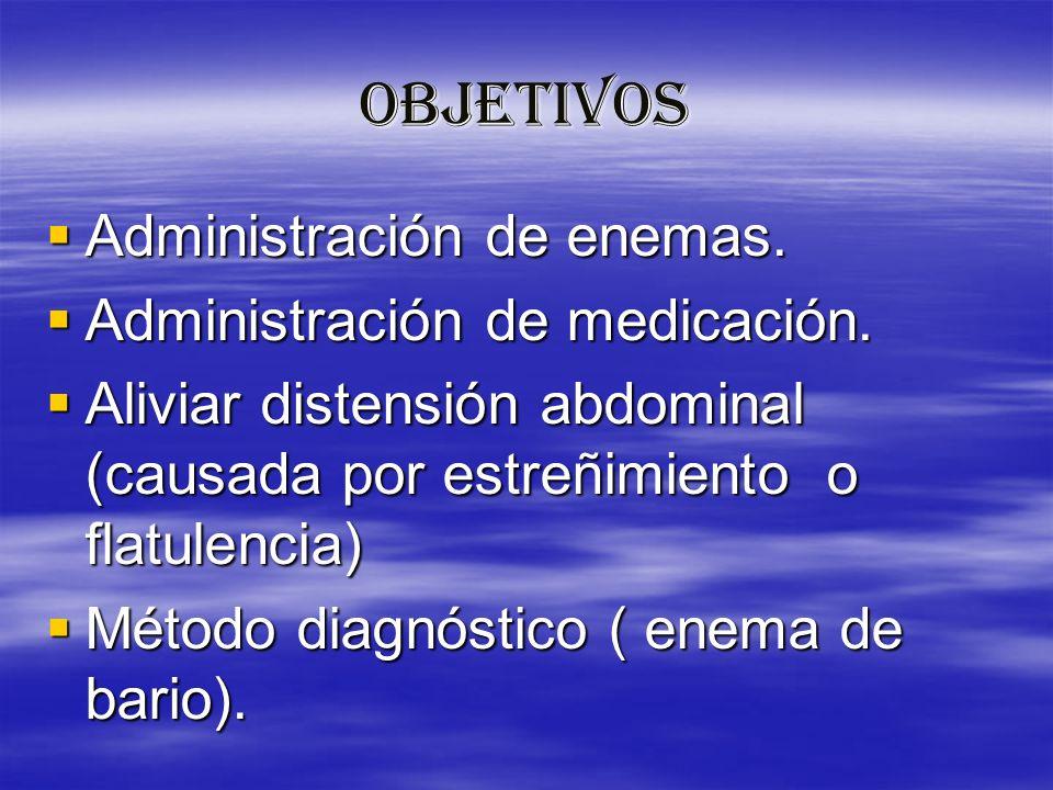OBJETIVOS Administración de enemas. Administración de enemas. Administración de medicación. Administración de medicación. Aliviar distensión abdominal