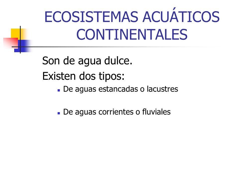 ECOSISTEMAS ACUÁTICOS CONTINENTALES Son de agua dulce. Existen dos tipos: De aguas estancadas o lacustres De aguas corrientes o fluviales
