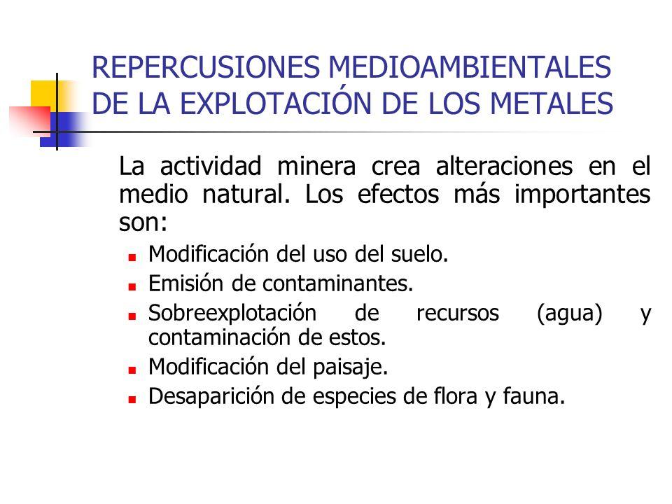 REPERCUSIONES MEDIOAMBIENTALES DE LA EXPLOTACIÓN DE LOS METALES La actividad minera crea alteraciones en el medio natural. Los efectos más importantes