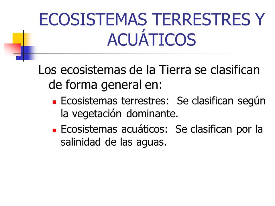 ECOSISTEMAS TERRESTRES Y ACUÁTICOS Los ecosistemas de la Tierra se clasifican de forma general en: Ecosistemas terrestres: Se clasifican según la vege