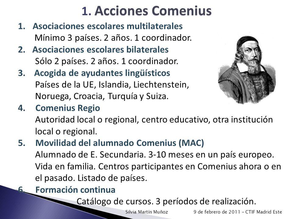 Acciones Comenius 1. Acciones Comenius 1.Asociaciones escolares multilaterales Mínimo 3 países. 2 años. 1 coordinador. 2.Asociaciones escolares bilate