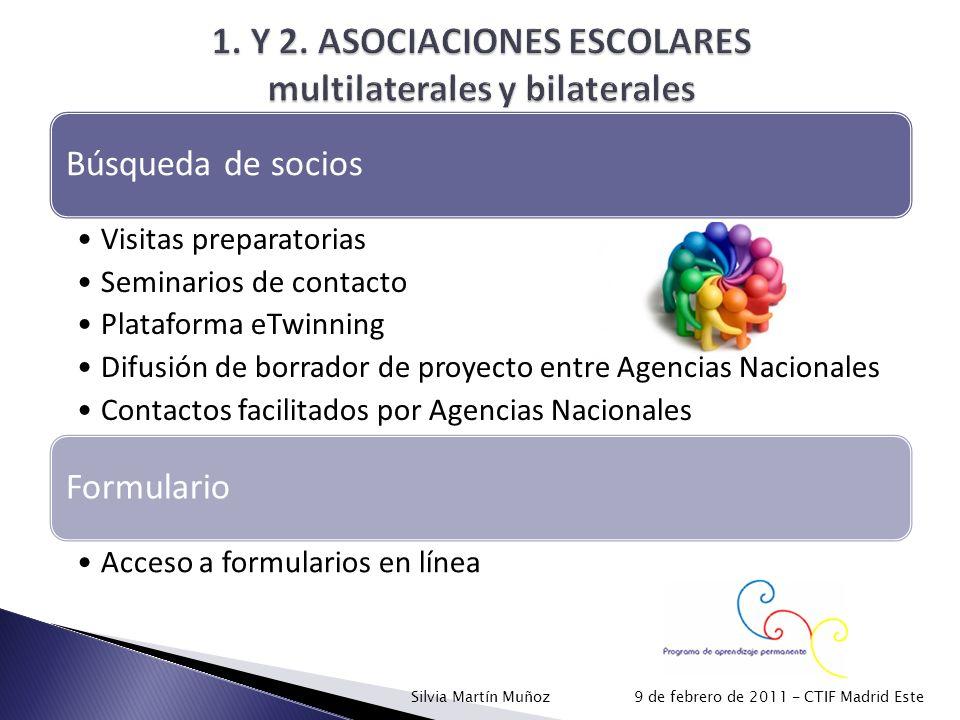 Búsqueda de socios Visitas preparatorias Seminarios de contacto Plataforma eTwinning Difusión de borrador de proyecto entre Agencias Nacionales Contac