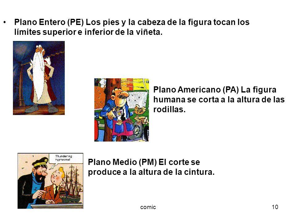 comic10 Plano Entero (PE) Los pies y la cabeza de la figura tocan los límites superior e inferior de la viñeta. Plano Americano (PA) La figura humana