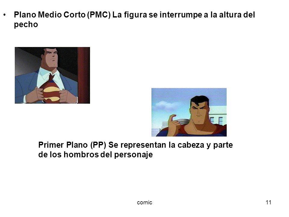 comic11 Plano Medio Corto (PMC) La figura se interrumpe a la altura del pecho Primer Plano (PP) Se representan la cabeza y parte de los hombros del pe