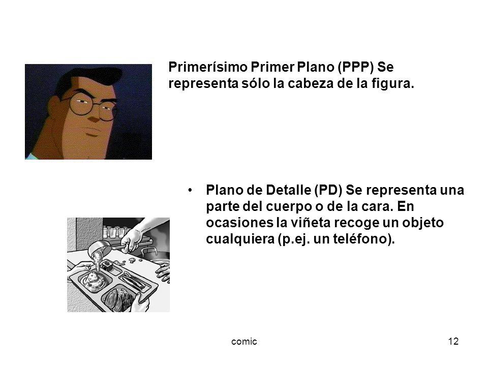 comic12 Plano de Detalle (PD) Se representa una parte del cuerpo o de la cara. En ocasiones la viñeta recoge un objeto cualquiera (p.ej. un teléfono).