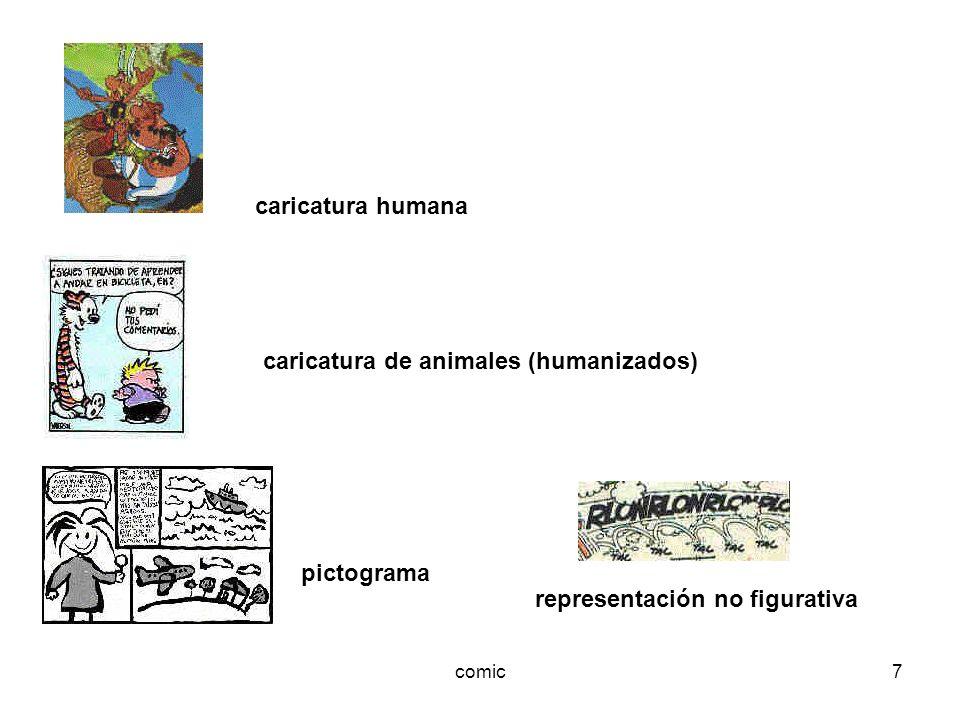 comic7 caricatura humana caricatura de animales (humanizados) pictograma representación no figurativa
