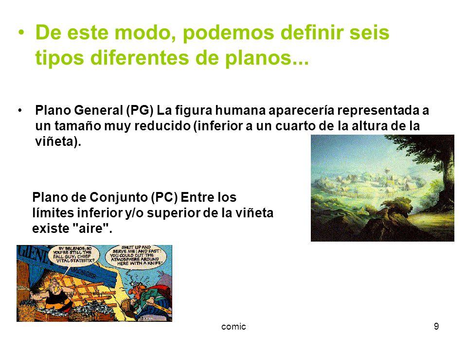 comic9 De este modo, podemos definir seis tipos diferentes de planos... Plano General (PG) La figura humana aparecería representada a un tamaño muy re