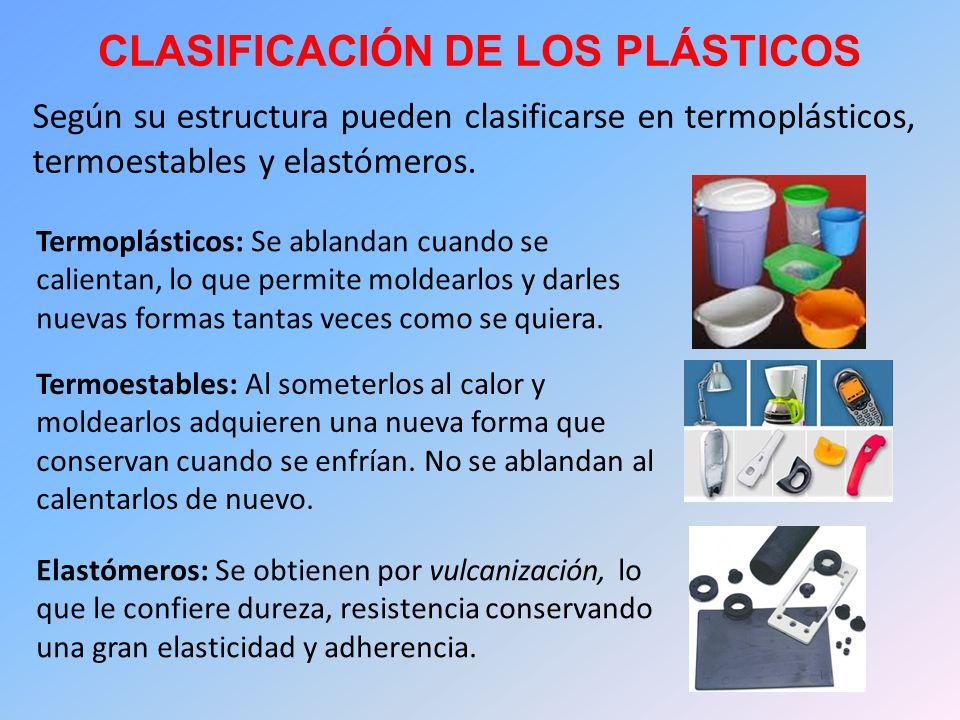 CLASIFICACIÓN DE LOS PLÁSTICOS Según su estructura pueden clasificarse en termoplásticos, termoestables y elastómeros. Termoplásticos: Se ablandan cua