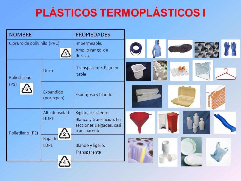 PLÁSTICOS TERMOPLÁSTICOS I NOMBREPROPIEDADES Cloruro de polivinilo (PVC)Impermeable. Amplio rango de dureza. Poliestireno (PS) Duro Transparente. Pigm