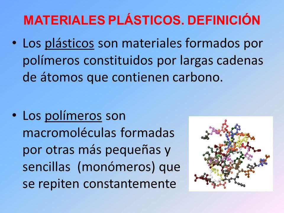MATERIALES PLÁSTICOS. DEFINICIÓN Los plásticos son materiales formados por polímeros constituidos por largas cadenas de átomos que contienen carbono.