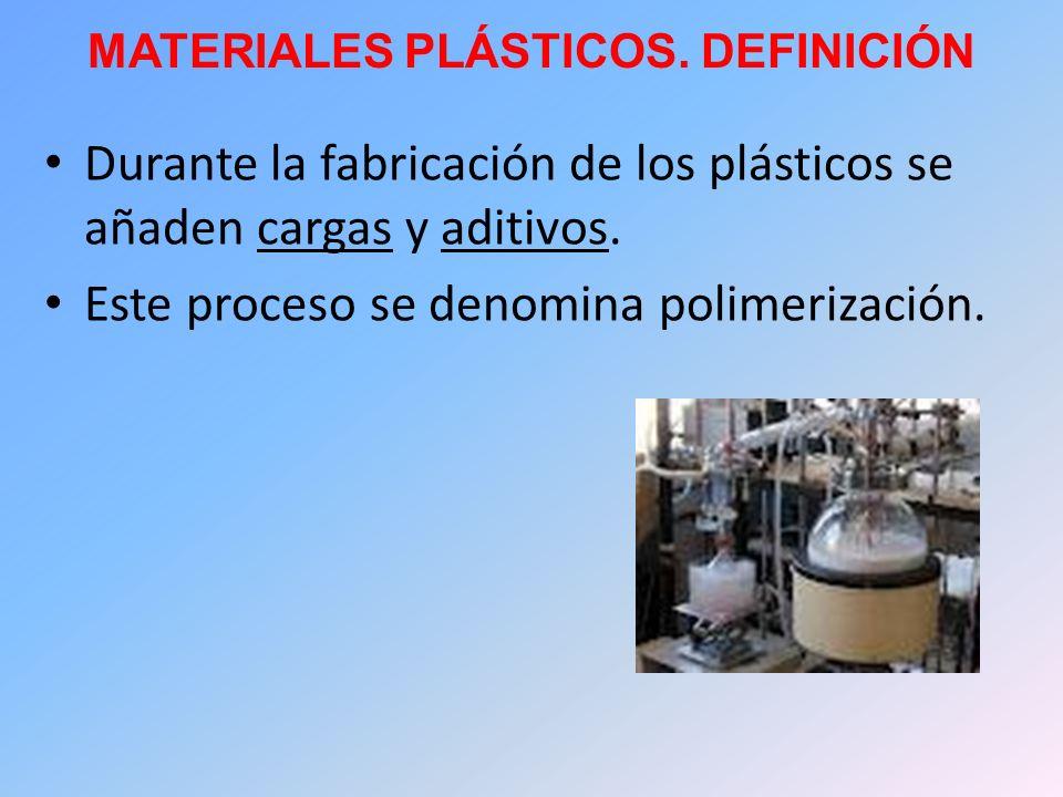 MATERIALES PLÁSTICOS. DEFINICIÓN Durante la fabricación de los plásticos se añaden cargas y aditivos. Este proceso se denomina polimerización.