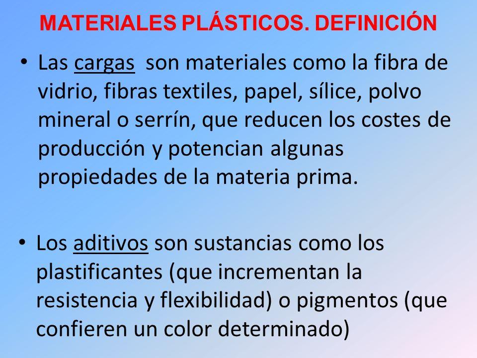 MATERIALES PLÁSTICOS. DEFINICIÓN Las cargas son materiales como la fibra de vidrio, fibras textiles, papel, sílice, polvo mineral o serrín, que reduce