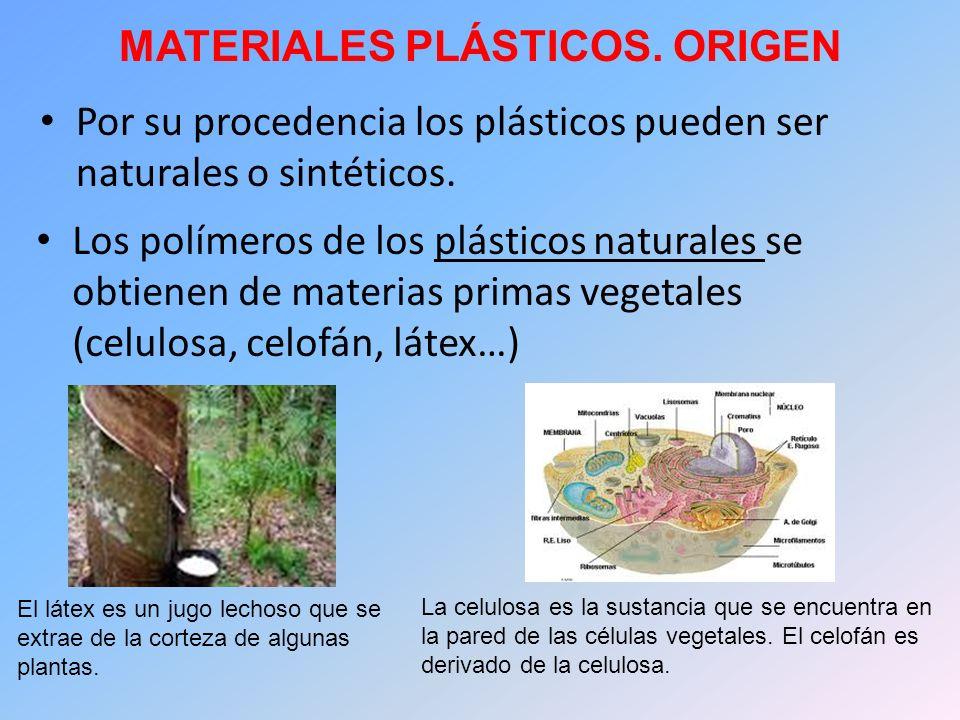 MATERIALES PLÁSTICOS. ORIGEN Por su procedencia los plásticos pueden ser naturales o sintéticos. El látex es un jugo lechoso que se extrae de la corte