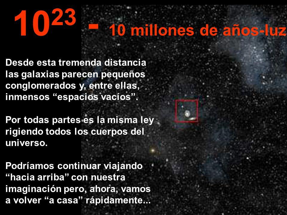 Desde esta tremenda distancia las galaxias parecen pequeños conglomerados y, entre ellas, inmensos espacios vacíos. Por todas partes es la misma ley r