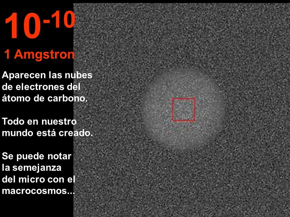 Aparecen las nubes de electrones del átomo de carbono. Todo en nuestro mundo está creado. Se puede notar la semejanza del micro con el macrocosmos...