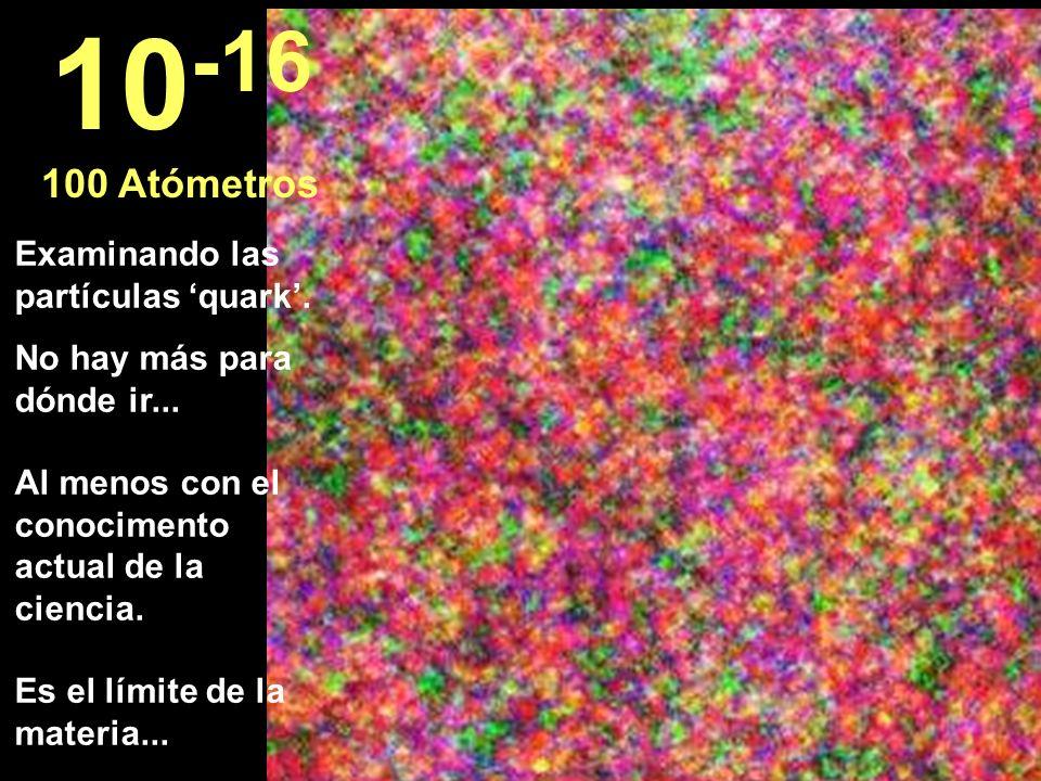 Examinando las partículas quark. No hay más para dónde ir... Al menos con el conocimento actual de la ciencia. Es el límite de la materia... 10 -16 10