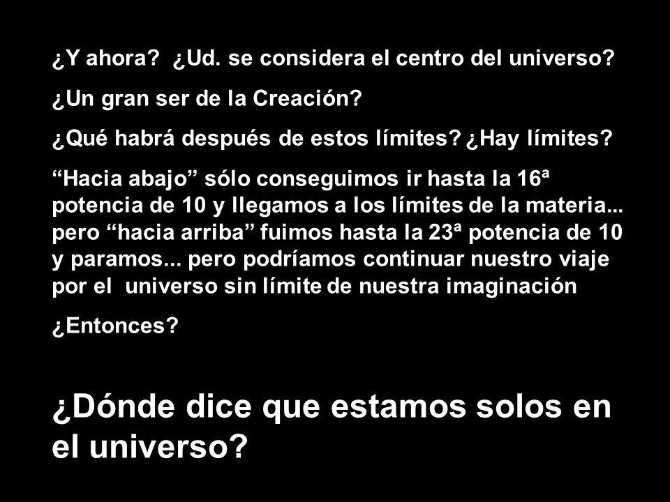 ¿Y ahora? ¿Ud. se considera el centro del universo? ¿Un gran ser de la Creación? ¿Qué habrá después de estos límites? ¿Hay límites? Hacia abajo sólo c