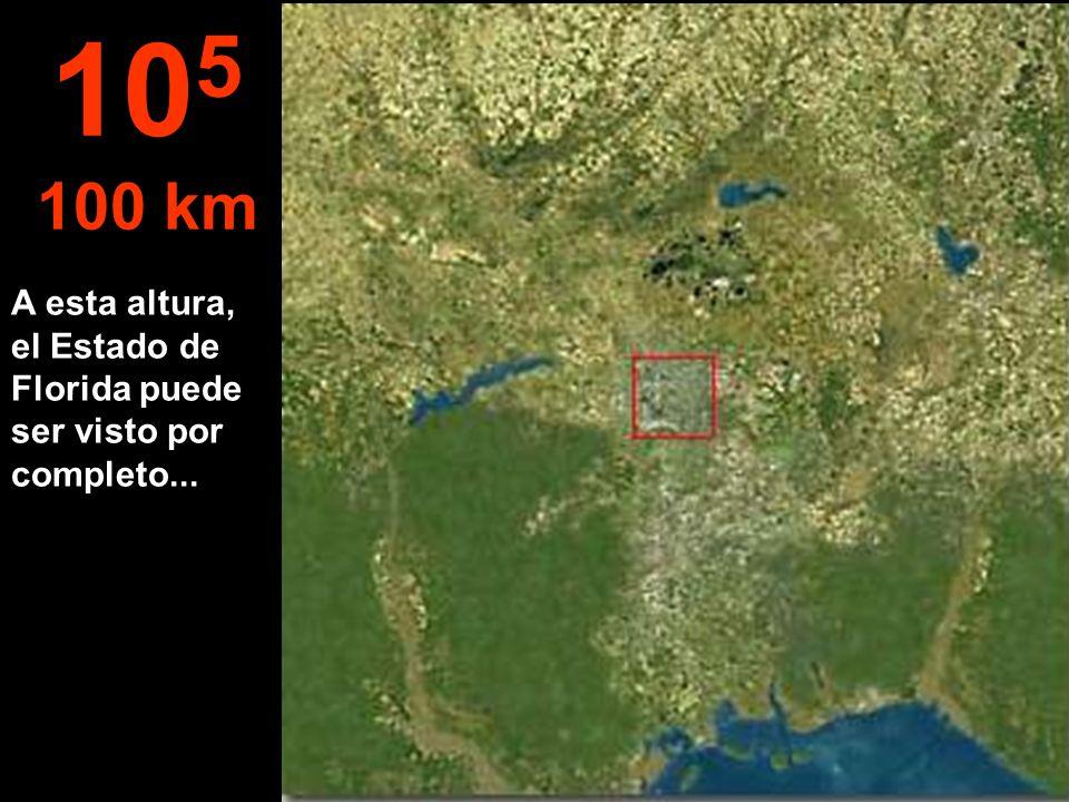 A esta altura, el Estado de Florida puede ser visto por completo... 10 5 100 km