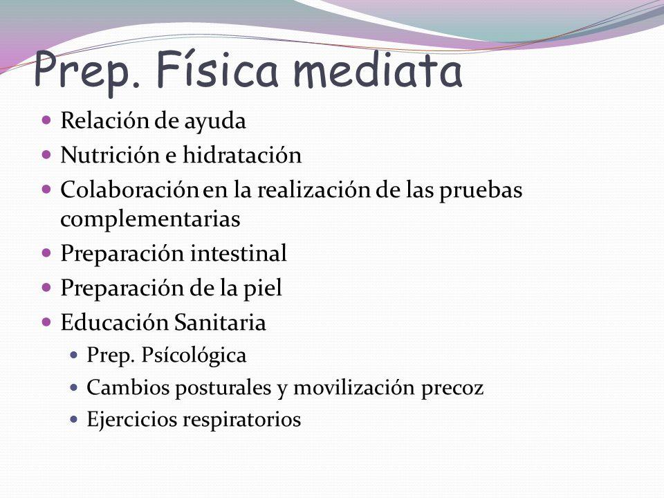 Prep. Física mediata Relación de ayuda Nutrición e hidratación Colaboración en la realización de las pruebas complementarias Preparación intestinal Pr