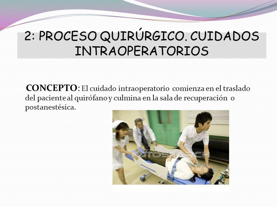 2: PROCESO QUIRÚRGICO. CUIDADOS INTRAOPERATORIOS CONCEPTO: El cuidado intraoperatorio comienza en el traslado del paciente al quirófano y culmina en l
