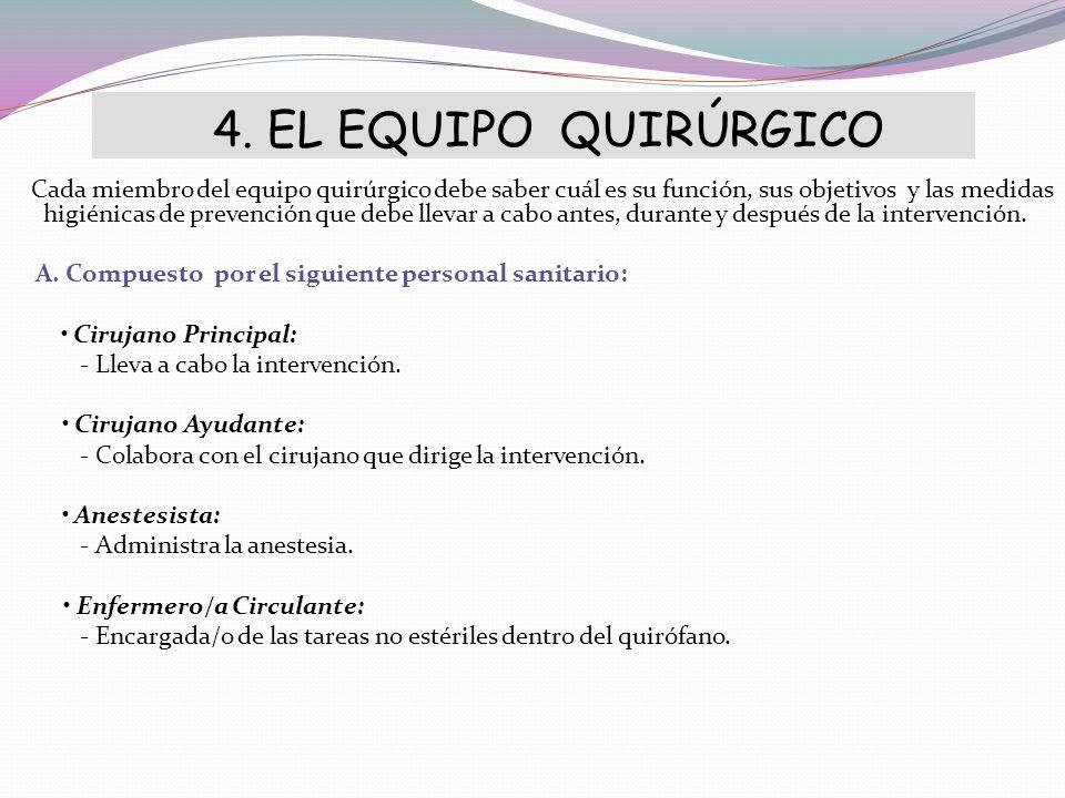 4. EL EQUIPO QUIRÚRGICO Cada miembro del equipo quirúrgico debe saber cuál es su función, sus objetivos y las medidas higiénicas de prevención que deb