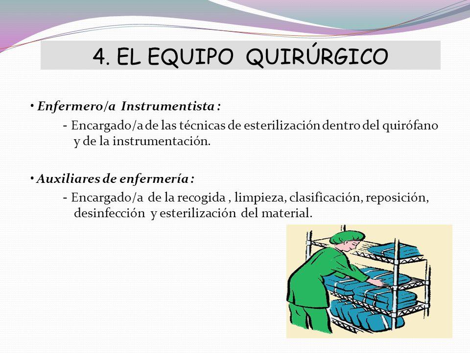 4. EL EQUIPO QUIRÚRGICO Enfermero/a Instrumentista : - Encargado/a de las técnicas de esterilización dentro del quirófano y de la instrumentación. Aux