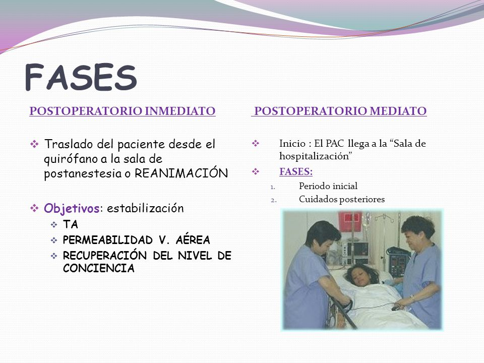 FASES POSTOPERATORIO INMEDIATO Traslado del paciente desde el quirófano a la sala de postanestesia o REANIMACIÓN Objetivos: estabilización TA PERMEABI