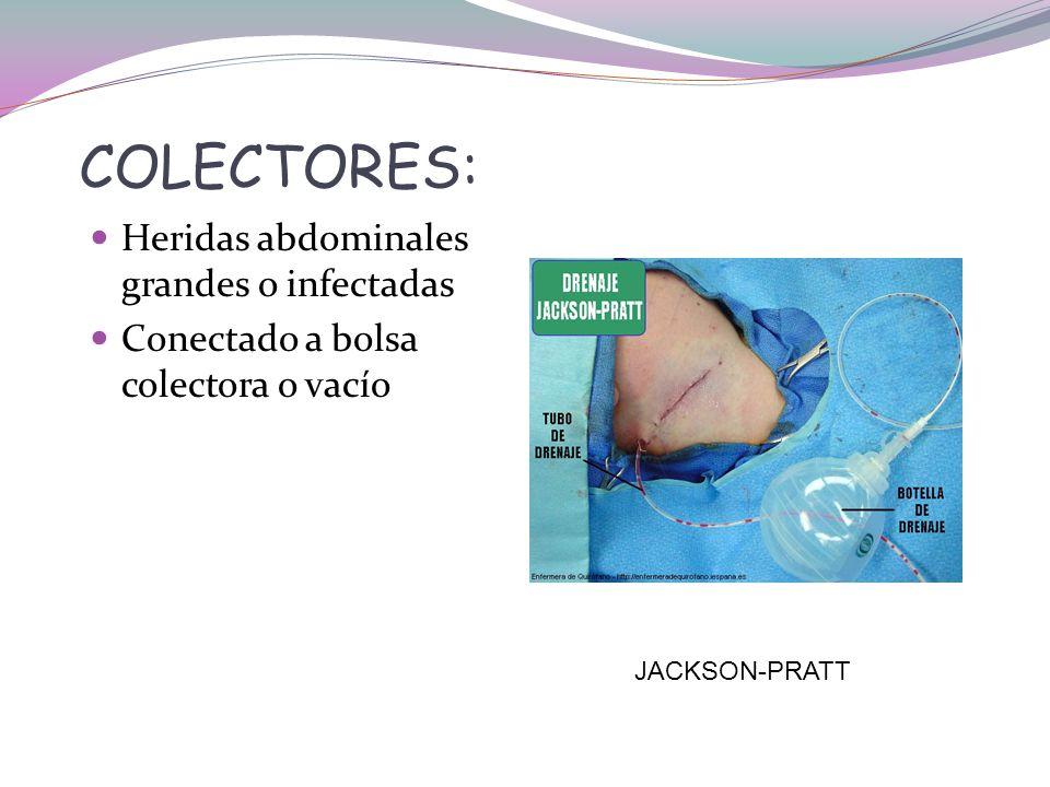 COLECTORES: Heridas abdominales grandes o infectadas Conectado a bolsa colectora o vacío JACKSON-PRATT