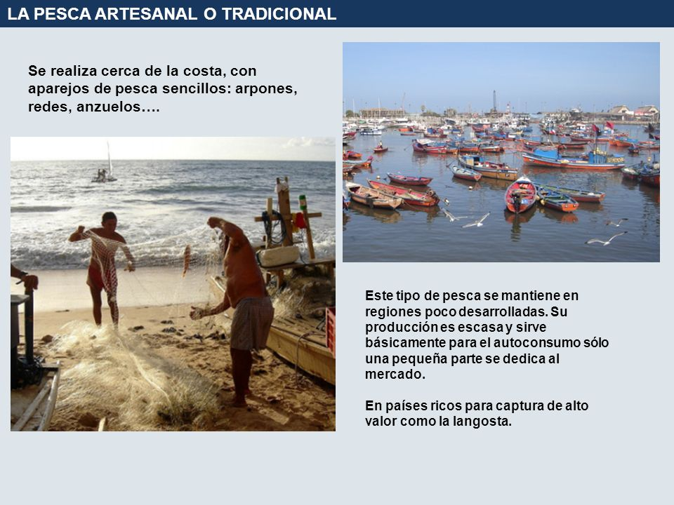 LA PESCA ARTESANAL O TRADICIONAL Se realiza cerca de la costa, con aparejos de pesca sencillos: arpones, redes, anzuelos…. Este tipo de pesca se manti